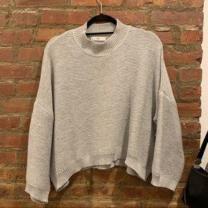 Adika Crop Mockneck Sweater, Dove Grey, OS